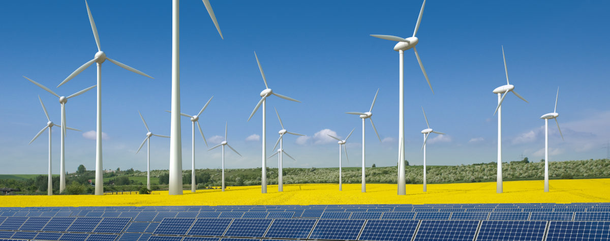 Solarpanele vor Windpark