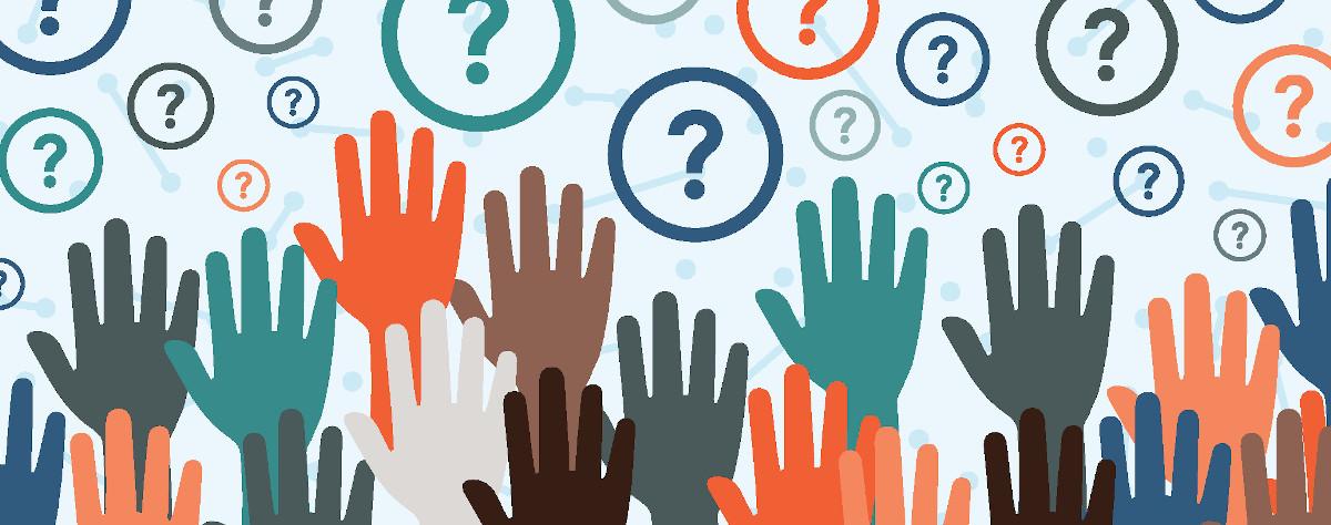 Grafik Hände von fragenden Menschen