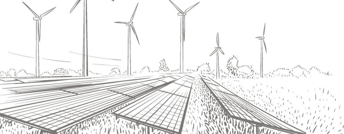 Zeichnung von Windenergieanlagen und PV-Anlagen auf einem Feld