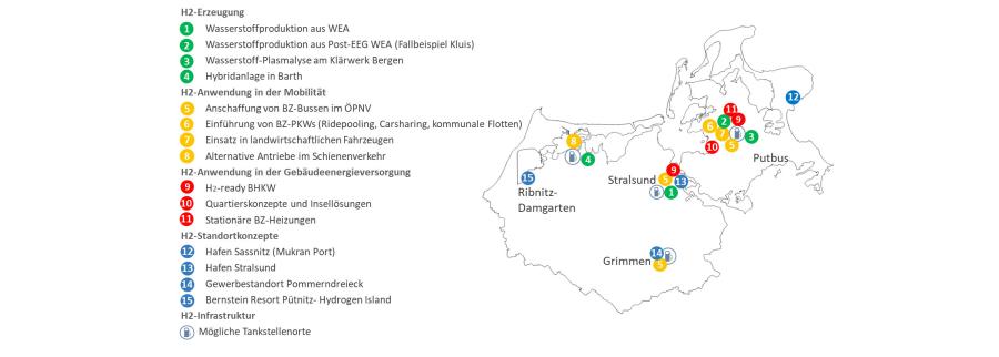 Wasserstoff-Ideenlandkarte der HyStarter-Region Rügen-Stralsund